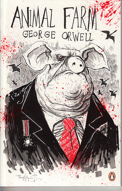 an analysis of george orwells political satire animal farm In animal farm, george orwell depicts a utopian society based on the principles of the gradual erosion of the animals' rights from within their very ranks prompts the question as to whether such a political vision is no animal shall kill any other animal no animal.