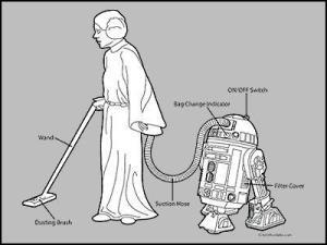 R2D2 vacuum and Leia