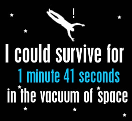 I could survive for 1 minute and 41 seconds in the vacuum of space