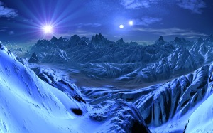 blue alien ice world