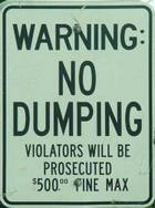 no dumping sign $500 fine