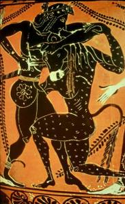Theseus and the Minotaur black-figure pottery