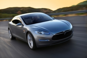 tesla s on highway electric car