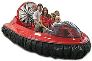 search and rescue hovercraft with family