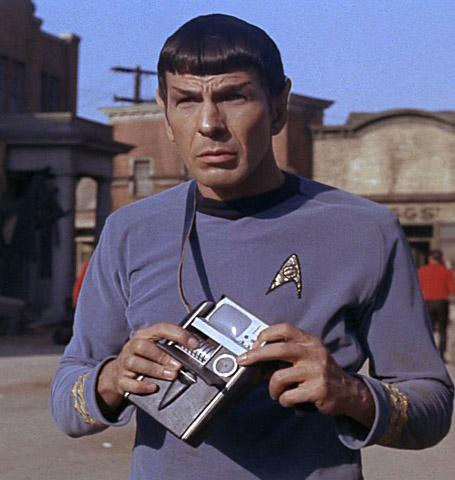 spock with tricorder star trek original series