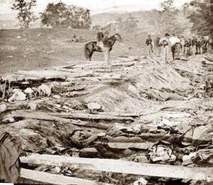 The death and destruction in the wake of Antietam, 1862.  Who would ever want to reenact this?