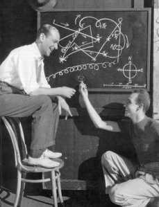 Fred Astaire and Hermes Pan diagramming a dance