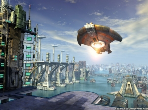 3d cgi science fiction city with spaceship