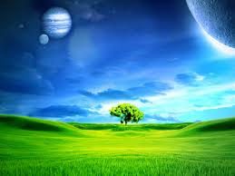 science fiction fantasy landscape tree green field planets