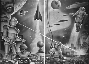 retro science fiction rockets aliens robots lasers