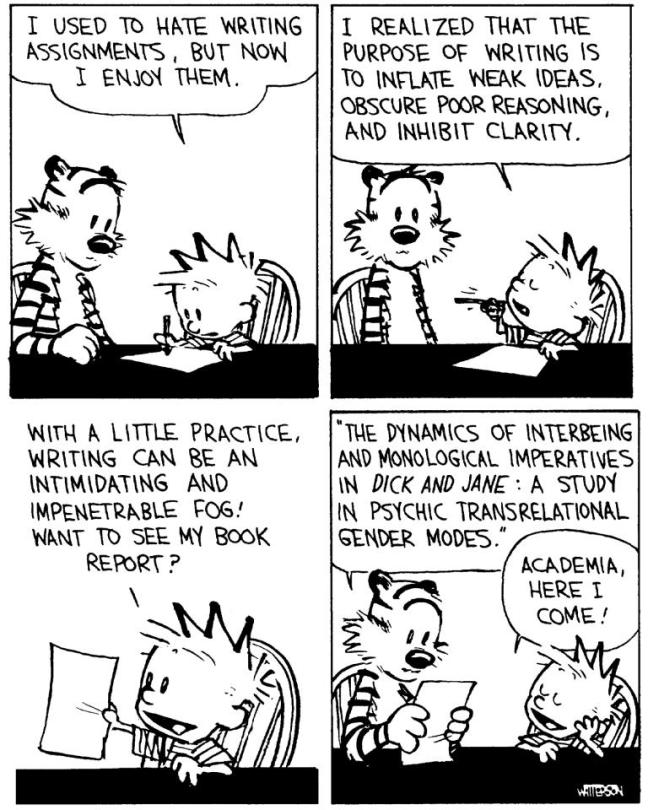 Calvin abuses the gift of language.