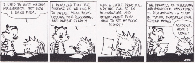 wordiness calvin and hobbes academia writing