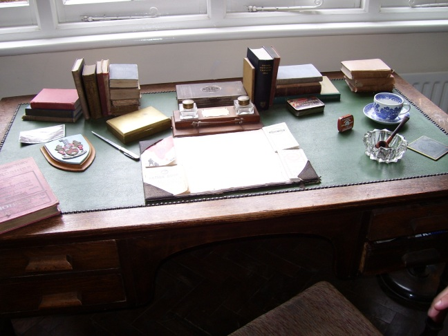 The desk where Lewis wrote his books out by hand