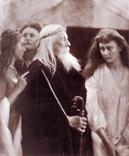 Lear and his daughters.  Cordelia, on the far right, is played by Alice Liddell--the Alice for whom Lewis Carroll wrote Alice in Wonderland!