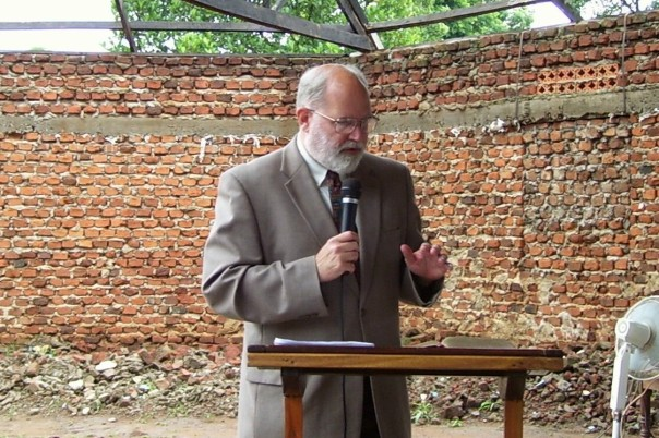 Preaching at Christ's Coworkers Church in rural Kenya